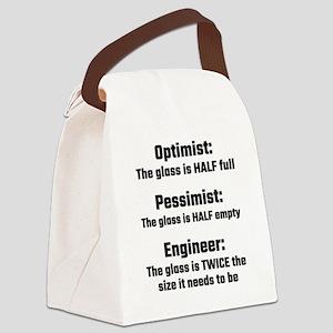 Optimist, Pessimist, Engineer Canvas Lunch Bag