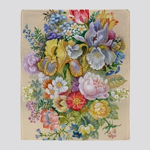 Flower Bouquet Painting Throw Blanket