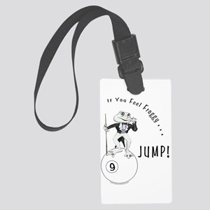 9 Ball Frog Cartoon Large Luggage Tag