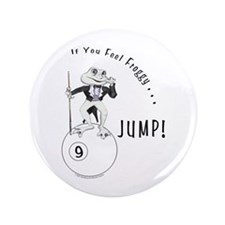 9 Ball Frog Cartoon Button