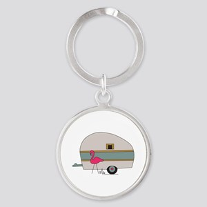 Camper With Flamingo Keychains