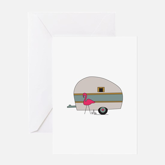 Camper With Flamingo Greeting Cards