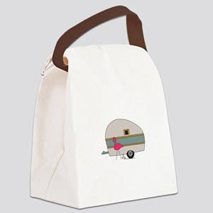 Camper With Flamingo Canvas Lunch Bag