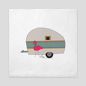 Camper With Flamingo Queen Duvet