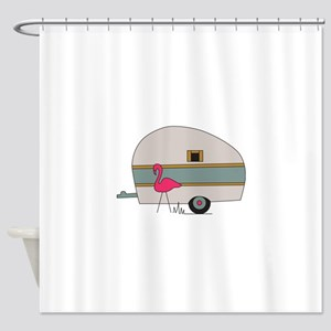Camper With Flamingo Shower Curtain