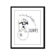 9 Ball Frog Cartoon Framed Panel Print