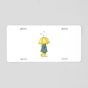 Walking In The Rain Aluminum License Plate