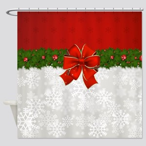 Snowflakes And Holly Shower Curtain