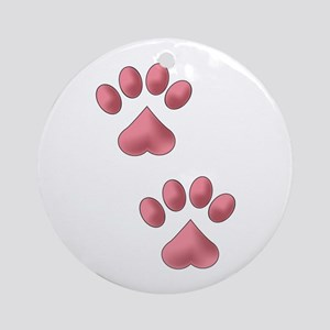 Heart Paws Round Ornament