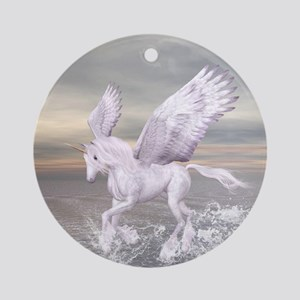 Pegasus-Unicorn Hybrid Round Ornament