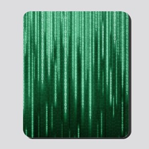 Green Binary Rain Mousepad