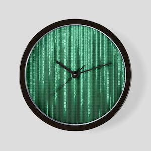 Green Binary Rain Wall Clock