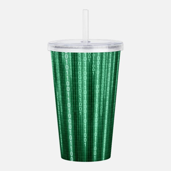 Green Binary Rain Acrylic Double-wall Tumbler