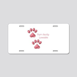 Purr-fectly Loveable Aluminum License Plate