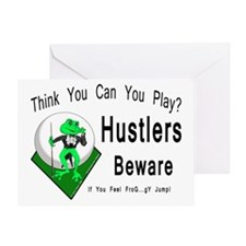 Hustlers Pool Playing Frog Greeting Card