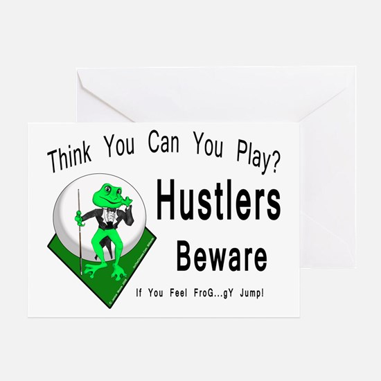 Hustlers Pool Playing Frog Greeting Card