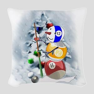 Billiards Ball Snowman xmas Woven Throw Pillow