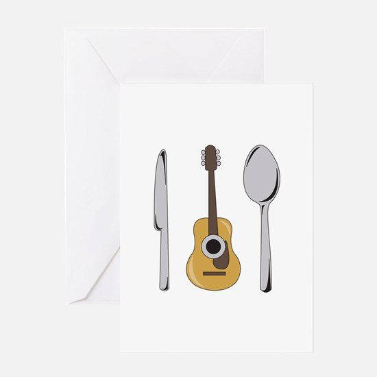 Utensils And Guitar Greeting Cards