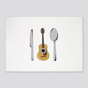 Utensils And Guitar 5'x7'Area Rug