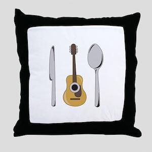 Utensils And Guitar Throw Pillow