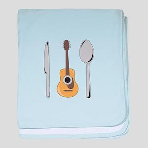 Utensils And Guitar baby blanket