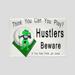 Hustlers Pool Playing Frog Rectangle Magnet