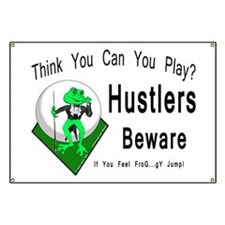 Hustlers Pool Playing Frog Banner