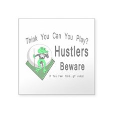 Hustlers Pool Playing Frog Square Sticker 3