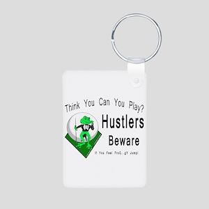 Hustlers Pool Playing Frog Aluminum Photo Keychain
