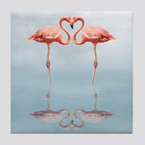 Pink Flamingos in Love Tile Coaster