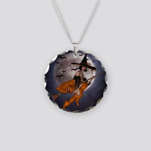 Halloween Witch Necklace Circle Charm