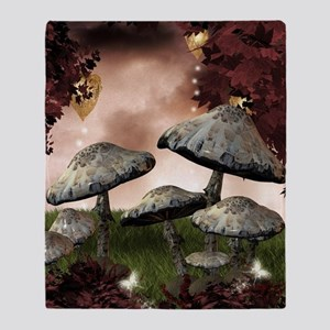 Autumn Mushrooms Throw Blanket