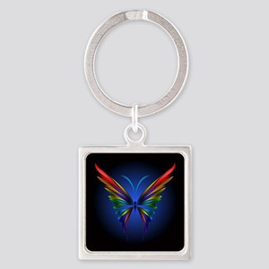 Abstract Butterfly Square Keychain