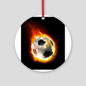 Soccer Fire Ball Round Ornament