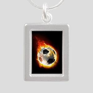Soccer Fire Ball Silver Portrait Necklace