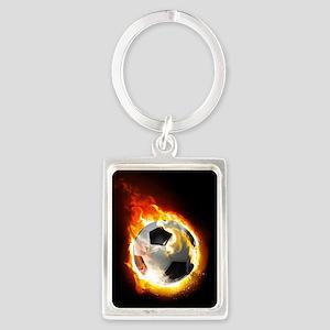 Soccer Fire Ball Portrait Keychain