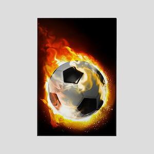 Soccer Fire Ball Rectangle Magnet