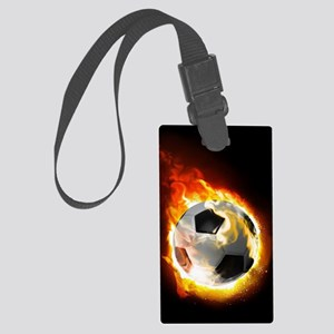 Soccer Fire Ball Large Luggage Tag