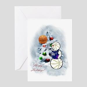 Basketball Snowman xmas Greeting Card
