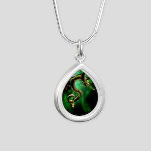 Python Snake Silver Teardrop Necklace