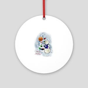 Basketball Snowman xmas Round Ornament