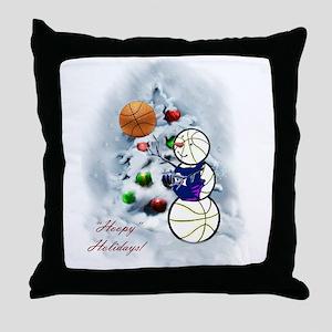 Basketball Snowman xmas Throw Pillow
