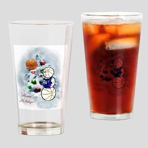 Basketball Snowman xmas Drinking Glass