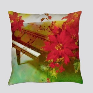 Vintage Christmas piano Everyday Pillow