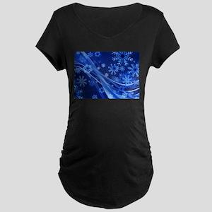 Blue Snowflakes Christmas Maternity T-Shirt