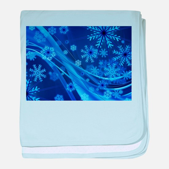 Blue Snowflakes Christmas baby blanket