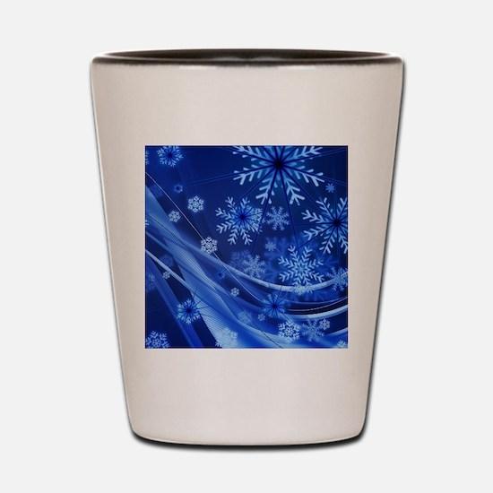 Blue Snowflakes Christmas Shot Glass