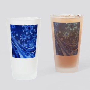 Blue Snowflakes Christmas Drinking Glass