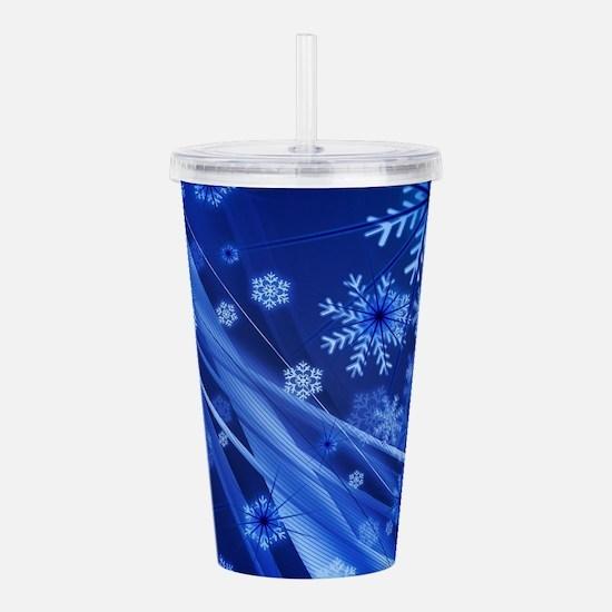 Blue Snowflakes Christ Acrylic Double-wall Tumbler