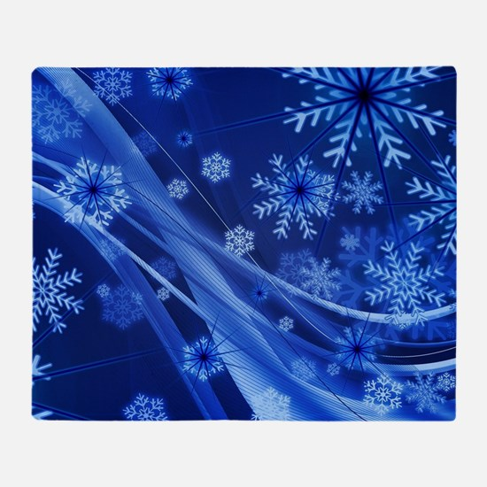 Blue Snowflakes Christmas Throw Blanket